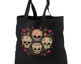 Gothic Sugar Skulls New Black Tote Bag, Unique. Day of the Dead