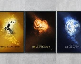 Game of Thrones Art Bundle - House Arryn Poster Print - Game of Thrones Wall Art - Greyjoy Portrait - Living Room Wall Decor - GOT A3 Art