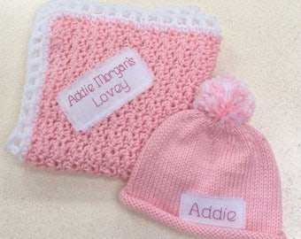 Baby Shower gift, gift, new baby, Personalized, Baby Announcement, Security blanket, monogram hat, lovey, blanket, baby boy