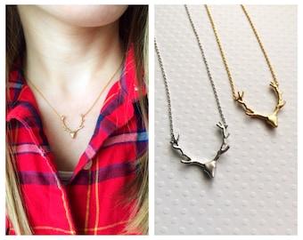 Antler Necklace Gold, Silver, Rose Gold Antler Necklace Deer Antler Jewelry Reindeer Gold Deer Deer Antler Jewelry Tom Design Woodland