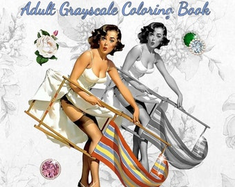 PDF of Summer Fantasy Retro Vintage Pin Up Girls Adult Grayscale Coloring Book--26 Coloring Pages
