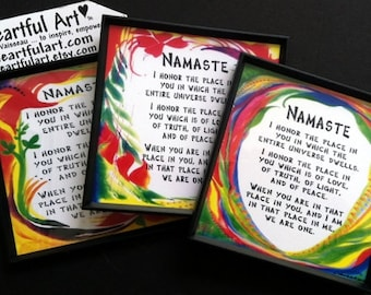 NAMASTE YOGA Meditation MAGNET Inspirational Words Spiritual Blessing Love Fridge Art Quote Kitchen Decor Heartful Art by Raphaella Vaisseau