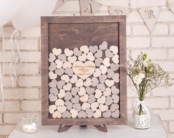 Wedding Guest Book Alternative Rustic Guestbook Heart Personalized Wedding guestbook Alternative Guest Book Dropbox for wedding Handmade