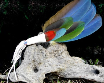 Small Macaw Feather Smudge Fan 16 1/2 in. long with Fringe x  4 in. wide