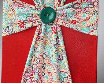 Handmade Fabric Cross Canvas Wall Hanging Bright Red & Turquoise Floral