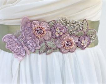Bridal Sash-Wedding Sash in Blush, Lavender And Moss With Pearls And Crystals, Woodland, Wedding Dress Sash