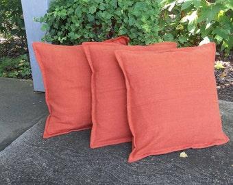"3 Orange Linen Pillows Fall Throw Pillow Covers Decorative Pillows Fall Porch Decor French Country Farmhouse Bedroom Pillows 20"""