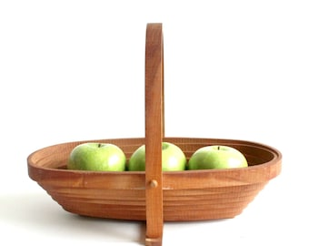 Collapsible Wood Bowl, Mid Century Modern Home Decor