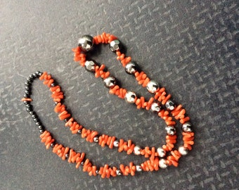 Long coral necklace