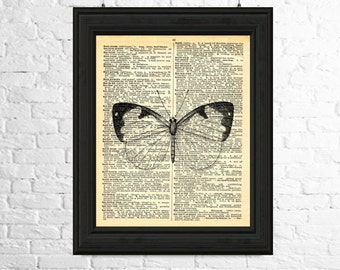 Insect Wall Art, Butterfly Art Print, Butterfly Wall Art, Dictionary Page Art, Insect Print, Butterfly Poster, Printable Art