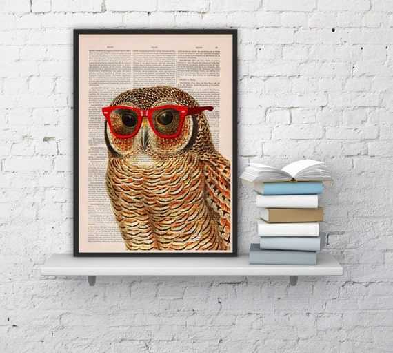 Cool Owl with sunglasses Printed on Vintage Book sheet -wall art,book print, Nursery wall art ANI035