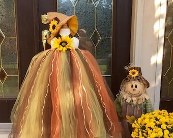 Scarecrow Tutu, Halloween Scarecrow Costume, Scarecrow Tulle Dress with Sunflower, Scarecrow Tutu Dress, Halloween Costume