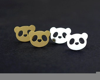Nickel Free - High Quality Double Panda Dual-used Golden / Silver / Rose Gold Brass Earring Post Finding with Ear Stud Stopper (ZEN094)