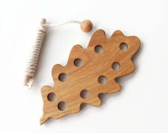 Wooden Lacing Toy Oak leaf Learning toy Fine Motor Skills Toy Educational WoodToy Threading Montessori Wooden Toy Personalized gift