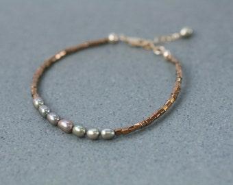 Pearl & Seed Bead Bracelet, Fresh Water Pearl Bracelet, Copper Bracelet, Metallic Beaded Bracelet, Dainty Bracelet, Brown Metallic Bracelet