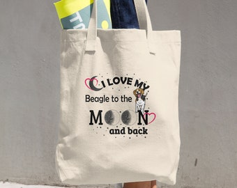 I Love My Beagle to the Moon and Back Dog Lover's Tote Bag Carryall
