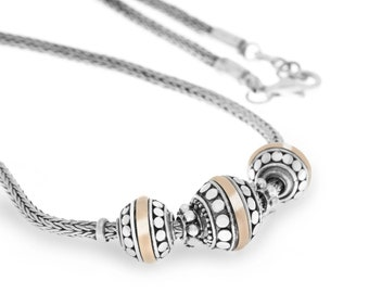 Best Selling, Emas Perak Beads Necklace, Balinese Jewelry, 925 Sterling Silver, 18K Gold Thin Sheet, Fine Quality