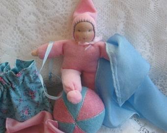 Waldorf Pocket Doll, Waldorf Gnome Doll, Pocket Doll, 6 inch Doll,Travel Toys, Toddler Doll,Waldorf Toys,Playsilks, Wool Felt Balls