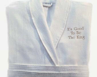 Personalized 100% Cotton Waffle/Terry Spa Robe, Parador Luxury men's and women's Bathwear