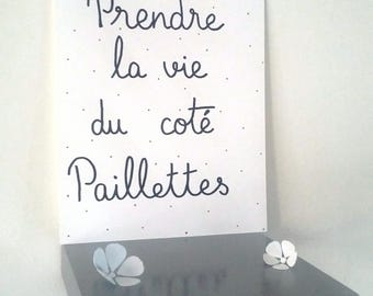 "inspirational ""take life glitter""illustrated poster hand side"