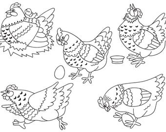 Chicken Clipart - Digital Vector Farm, Bird, Hen, Egg, Rooster, Easter, Chicken Clip Art