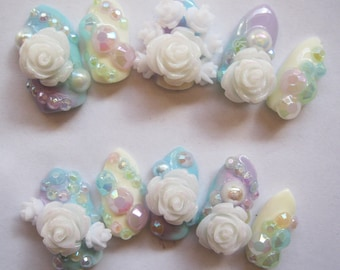"3D deco nails- ""Pastel Dreamland"""