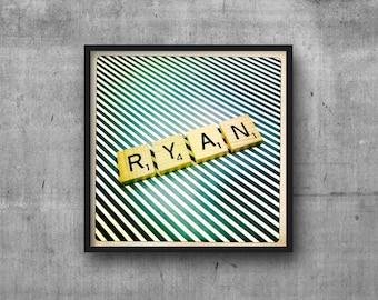 RYAN - Name Art - Scrabble Tile Name - Art Photo - Photography Art Print - Name Sign
