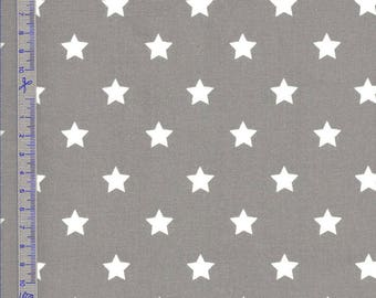 Oilcloth in coated cotton ash gray with white stars