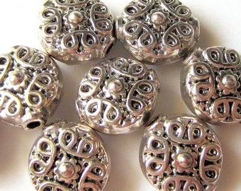 24 Silver metal beads spacers jewelry making supplies 11mm x 10mm x 6mm (SR7),
