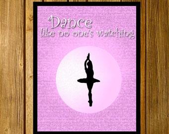 Ballet Silhouette Poster. Art Decor.  Printable.  8x10
