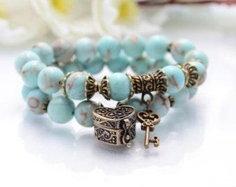 Turquoise Bracelet Couple Bracelet Blue Stone Bracelet Gift for her Bracelet Blue Beaded Bracelet Turquoise Jewelry Key Bracelet Unique Gift