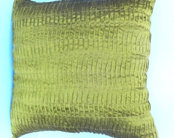 Lemon green. Dupioni silk 16x16inch pintuck  cushion cover . Lime green pillow.  Decorative cushion cover.