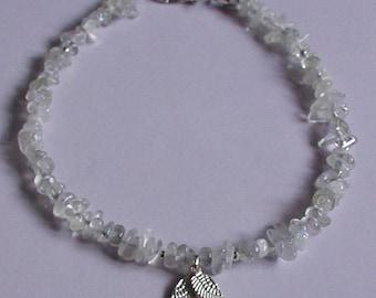Moonstone Gemstone Chips Angel Wings Charm Anklet Ankle Bracelet