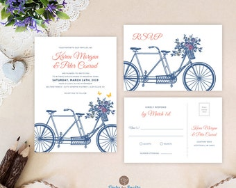 Vintage tandem bicycle wedding set printed: wedding invitation with rsvp postcard | Blue and coral wedding invites