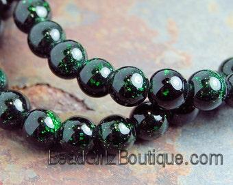 Green Goldstone Beads 8mm round -15 inch strand