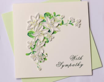 Sympathy Quilling Greeting Card, Quilling Cards, Birthday Cards, Greeting Cards, Handmade Greeting Card, Handmade Card