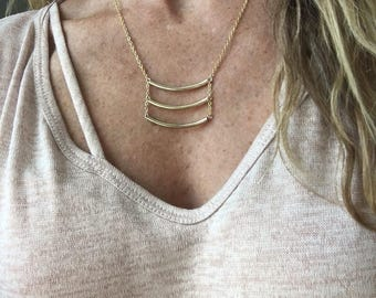 bar necklace / gold necklace / layered necklace / gifts for her / handmade necklace/ minimalist necklace / dainty necklace / delicate
