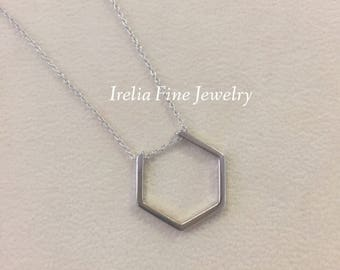 """Sterling Silver Geometric Hexagon Pendant on 18"""" chain **Science Jewelry"""