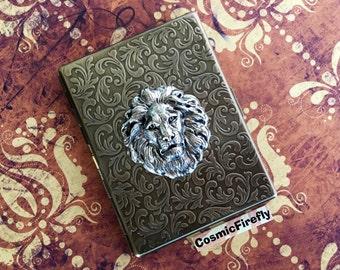 Slim Lion Cigarette Case Antiqued Brass Steampunk Case Silver Lion Head Large Card Holder Gothic Victorian Steampunk Smoking Accessories