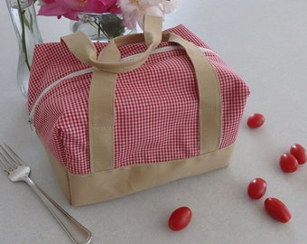 Insulated Lunch Bag - Tomato Gingham