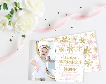 Winter ONEderland Gold or Silver Glitter First Birthday Invitation, Baby Girl Winter First Birthday Invitation, Printed Invitations