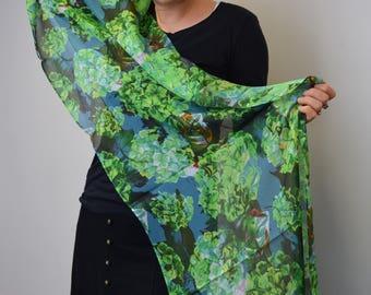 Green Hydrangeas Silk Scarf, Chiffon Scarf, Art Scarf, Wearable Art, Shawl, Sheer Wrap