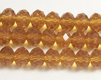 6x8mm Topaz Faceted Crystal Rondelle Beads