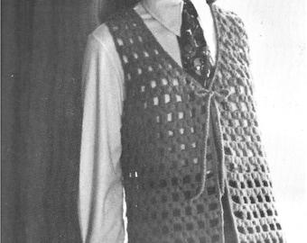 1970 Crochet Vest Pattern, open work pattern vest, vintage, instant download, pdf pattern
