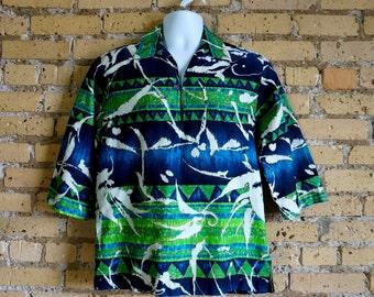 "Vintage 1960s Mens Size Large Hawaiian Shirt Napili Cotton Barkcloth Pullover VGC Chest 44"" / Green Blue Batik Retro Tiki Beach Resort Wear"
