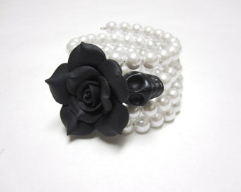 Day of the Dead Bracelet Sugar Skull Jewelry Black Rose White