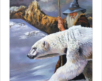 """Wizard and Polar Bear Print - """"The Quest"""" - 8x10 Fantasy Storytelling Illustration Reproduction"""