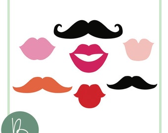 Photobooth Supplies SVG File Set - Mustache, Lips