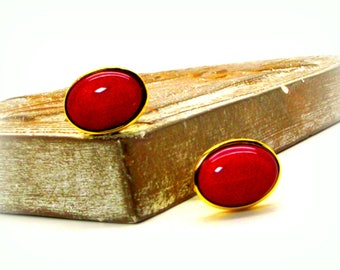 Red Pearl Cufflinks - Red South Sea Shell Pearl Cufflinks - Red Cufflinks