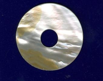 White Shell Pendant, 60mm White Shell Pi Donut Mother of Pearl Focal Pendant 831M